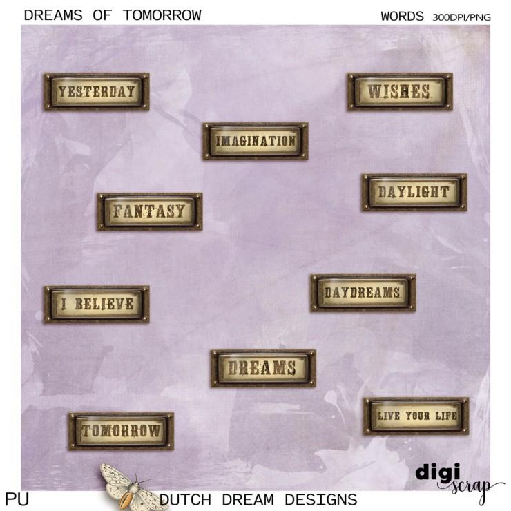 Dreams of Tomorrow - Words