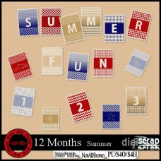 12 months Summer alpha stamps