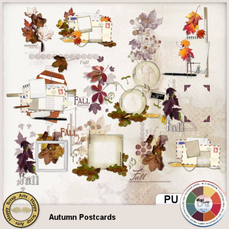 Autumn Postcards Wordart Overlays