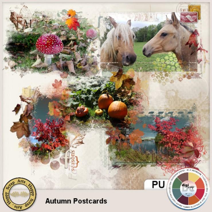 Autumn Postcards transfers