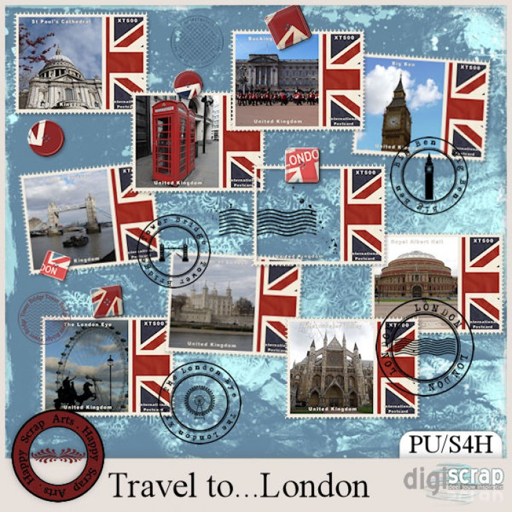 Travel to London stamps