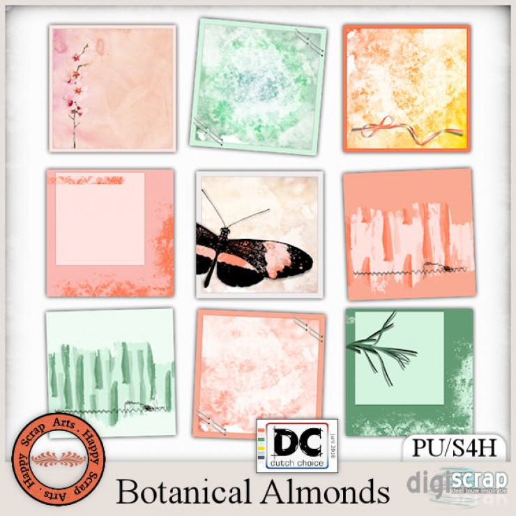 Botanical Almonds journal cards