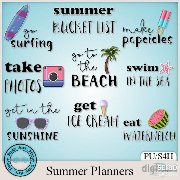 Summer Planners word art