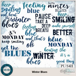Winter Blues word art